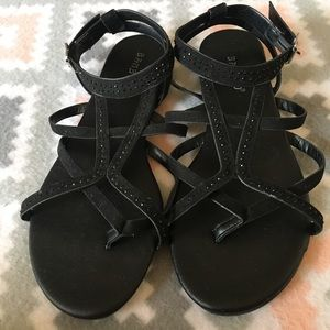 Bamboo Summer Black Strappy Sandals Women's 8.5
